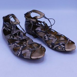 Coach Tan/Brown Snake Scale Pattern Sandals